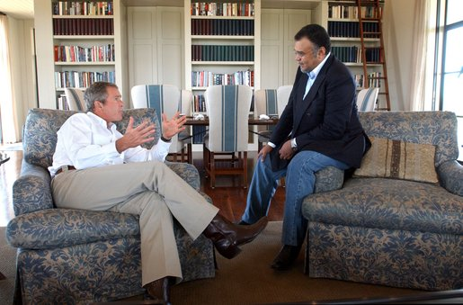President George W. Bush meets with Saudi Arabian ambassador Prince Bandar bin Sultan at the Bush Ranch in Crawford, Texas, Tuesday, Aug. 27, 2002 WHITE HOUSE PHOTO BY ERIC DRAPER