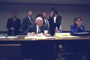Cheney on 9/11; behind him, Rice and Mineta
